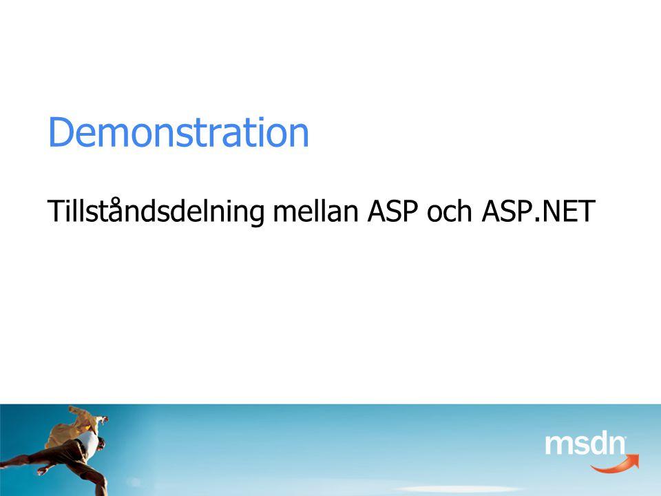 Demonstration Tillståndsdelning mellan ASP och ASP.NET