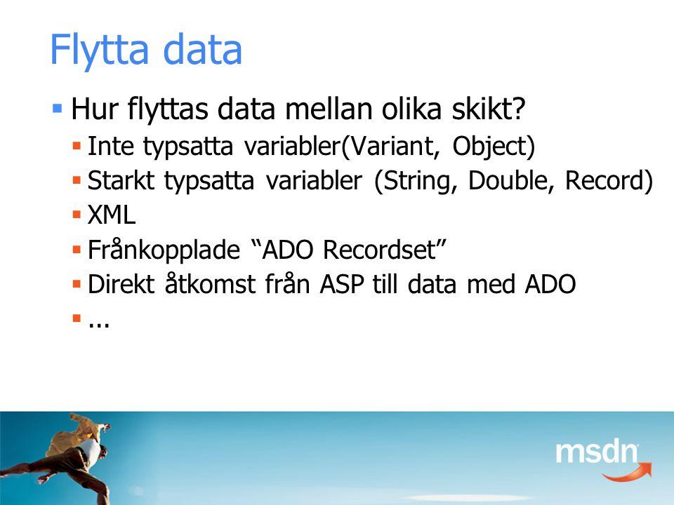 Flytta data  Hur flyttas data mellan olika skikt.