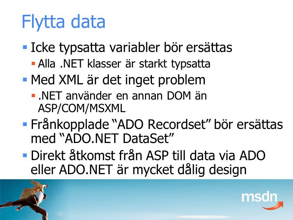  Icke typsatta variabler bör ersättas  Alla.NET klasser är starkt typsatta  Med XML är det inget problem .NET använder en annan DOM än ASP/COM/MSXML  Frånkopplade ADO Recordset bör ersättas med ADO.NET DataSet  Direkt åtkomst från ASP till data via ADO eller ADO.NET är mycket dålig design Flytta data
