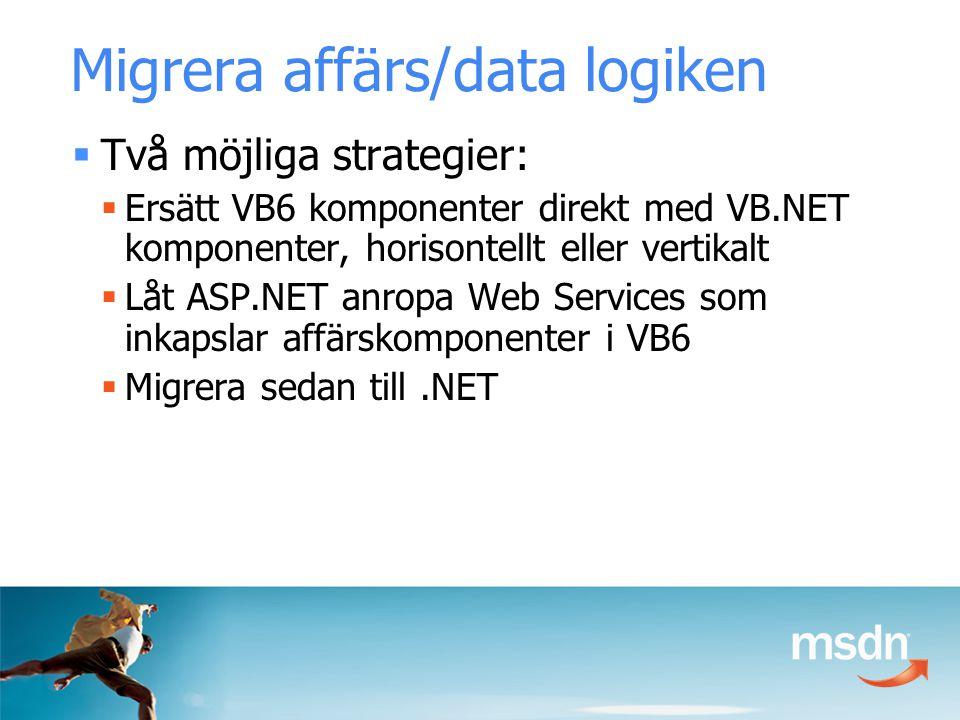 Migrera affärs/data logiken  Två möjliga strategier:  Ersätt VB6 komponenter direkt med VB.NET komponenter, horisontellt eller vertikalt  Låt ASP.NET anropa Web Services som inkapslar affärskomponenter i VB6  Migrera sedan till.NET
