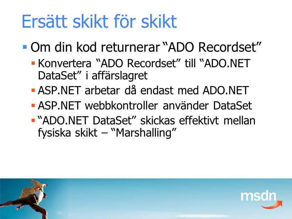 Ersätt skikt för skikt  Om din kod returnerar ADO Recordset  Konvertera ADO Recordset till ADO.NET DataSet i affärslagret  ASP.NET arbetar då endast med ADO.NET  ASP.NET webbkontroller använder DataSet  ADO.NET DataSet skickas effektivt mellan fysiska skikt – Marshalling