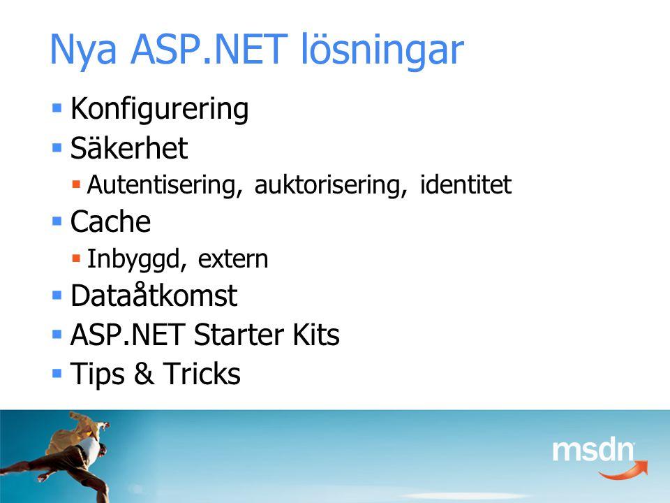 Nya ASP.NET lösningar  Konfigurering  Säkerhet  Autentisering, auktorisering, identitet  Cache  Inbyggd, extern  Dataåtkomst  ASP.NET Starter Kits  Tips & Tricks