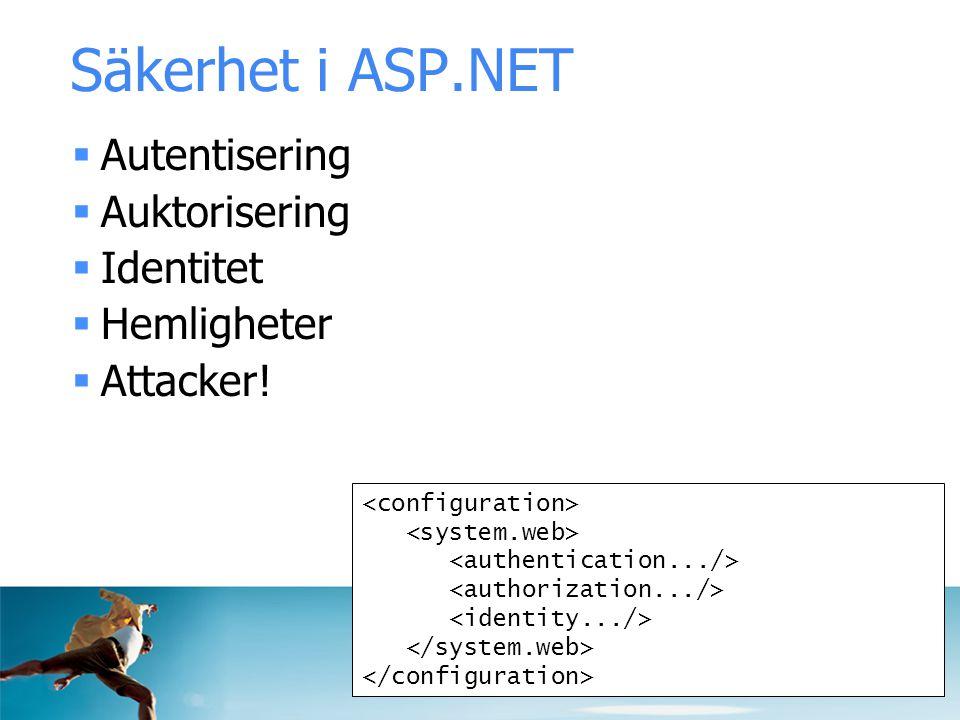 Säkerhet i ASP.NET  Autentisering  Auktorisering  Identitet  Hemligheter  Attacker!