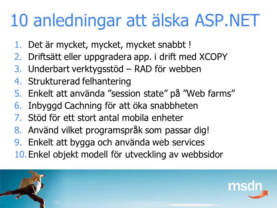 10 anledningar att älska ASP.NET 1.Det är mycket, mycket, mycket snabbt .