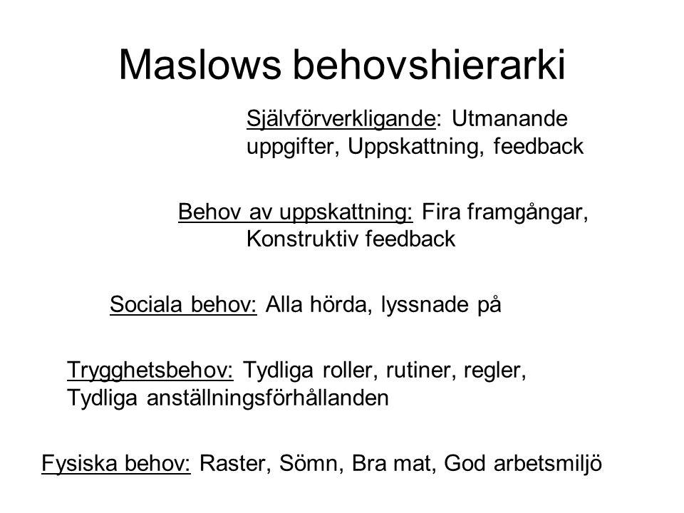 Maslows behovshierarki Självförverkligande: Utmanande uppgifter, Uppskattning, feedback Behov av uppskattning: Fira framgångar, Konstruktiv feedback S