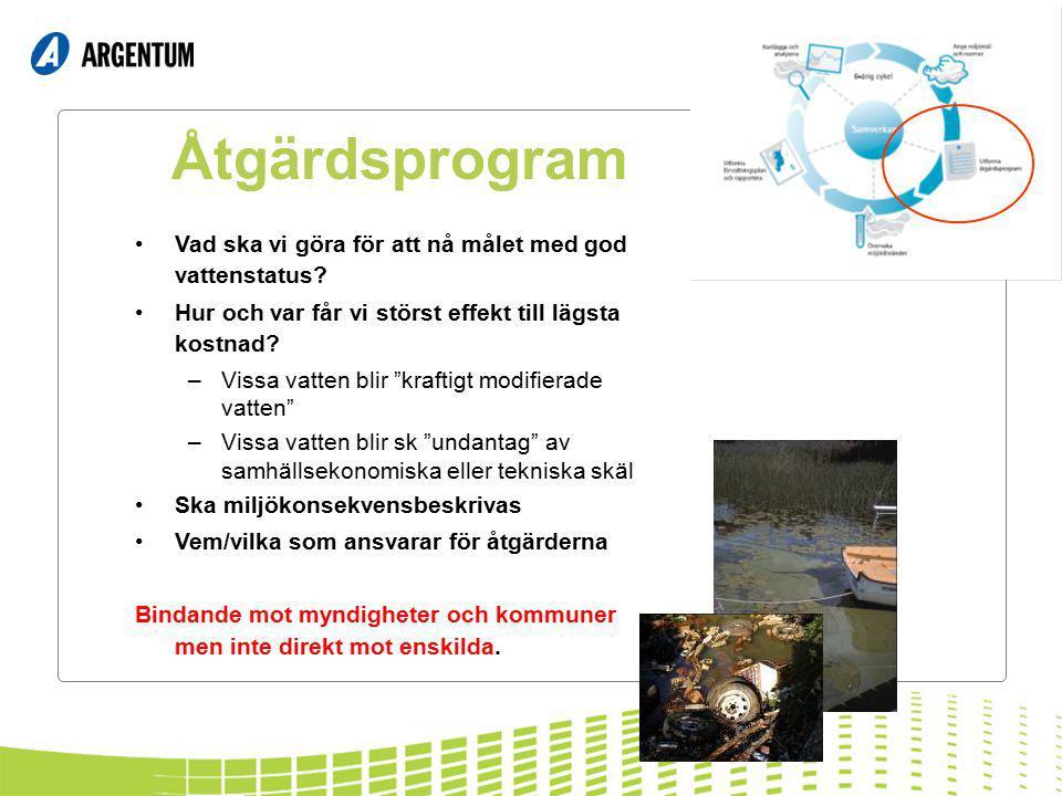 """Åtgärdsprogram Vad ska vi göra för att nå målet med god vattenstatus? Hur och var får vi störst effekt till lägsta kostnad? –Vissa vatten blir """"krafti"""