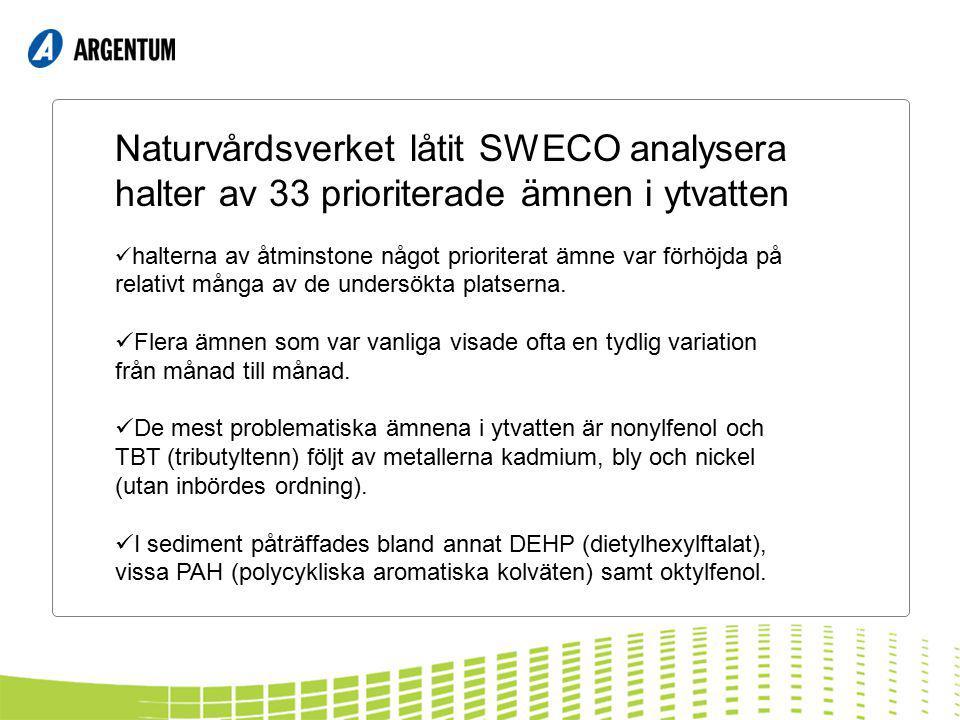 Naturvårdsverket låtit SWECO analysera halter av 33 prioriterade ämnen i ytvatten halterna av åtminstone något prioriterat ämne var förhöjda på relativt många av de undersökta platserna.