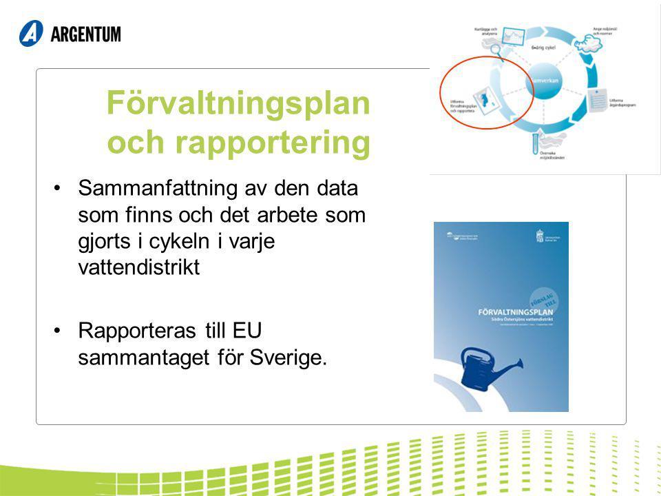 Förvaltningsplan och rapportering Sammanfattning av den data som finns och det arbete som gjorts i cykeln i varje vattendistrikt Rapporteras till EU sammantaget för Sverige.