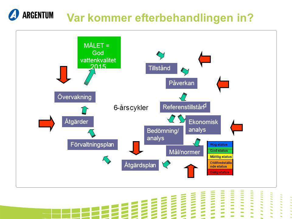 Tillstånd Referenstillstån d Mål/normer Bedömning/ analys Ekonomisk analys Åtgärdsplan Förvaltningsplan Åtgärder Övervakning Dålig status Otillfredstä