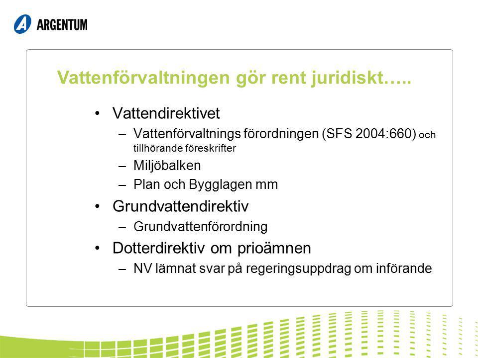 Vattendirektivet –Vattenförvaltnings förordningen (SFS 2004:660) och tillhörande föreskrifter –Miljöbalken –Plan och Bygglagen mm Grundvattendirektiv