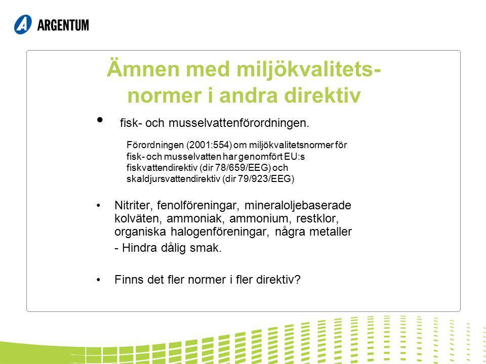 Ämnen med miljökvalitets- normer i andra direktiv fisk- och musselvattenförordningen. Nitriter, fenolföreningar, mineraloljebaserade kolväten, ammonia