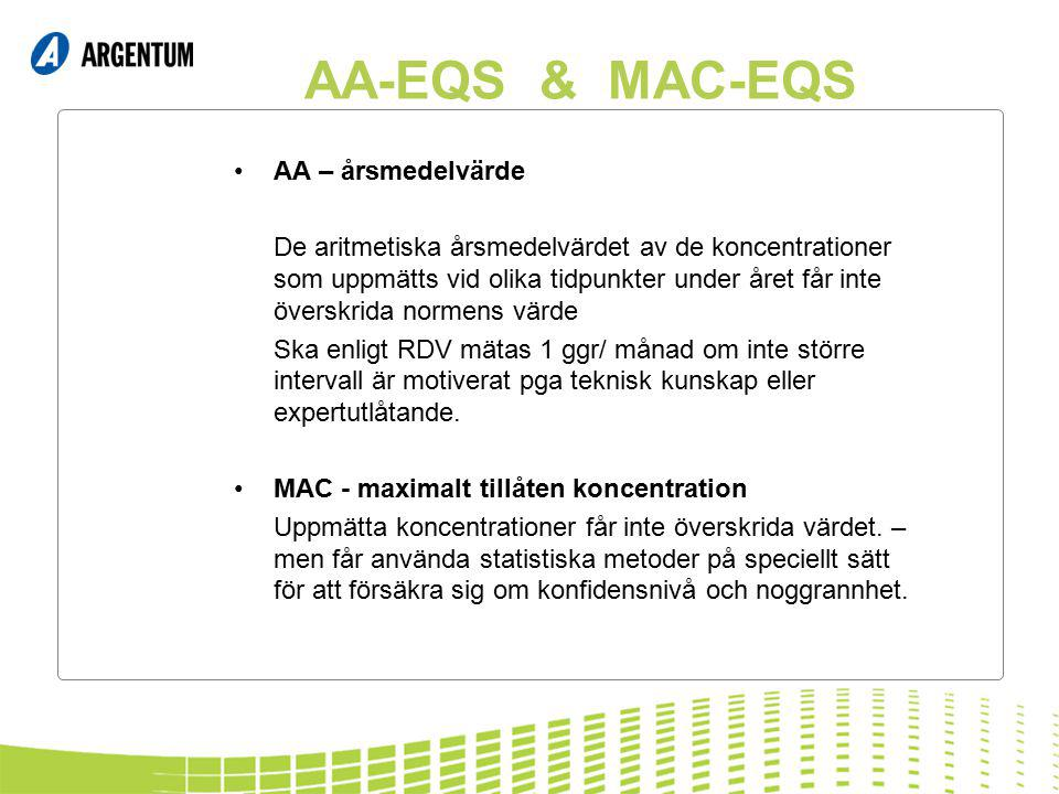 AA-EQS & MAC-EQS AA – årsmedelvärde De aritmetiska årsmedelvärdet av de koncentrationer som uppmätts vid olika tidpunkter under året får inte överskrida normens värde Ska enligt RDV mätas 1 ggr/ månad om inte större intervall är motiverat pga teknisk kunskap eller expertutlåtande.
