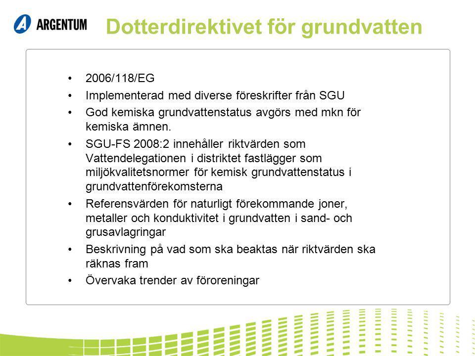 Dotterdirektivet för grundvatten 2006/118/EG Implementerad med diverse föreskrifter från SGU God kemiska grundvattenstatus avgörs med mkn för kemiska ämnen.
