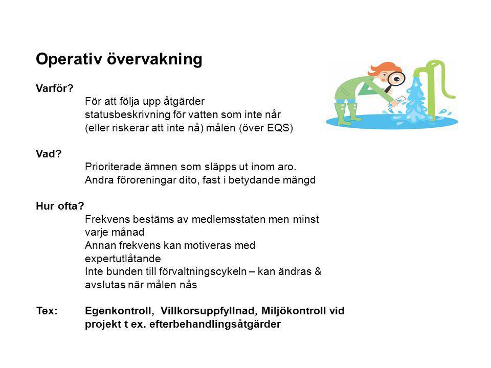 Operativ övervakning Varför? För att följa upp åtgärder statusbeskrivning för vatten som inte når (eller riskerar att inte nå) målen (över EQS) Vad? P
