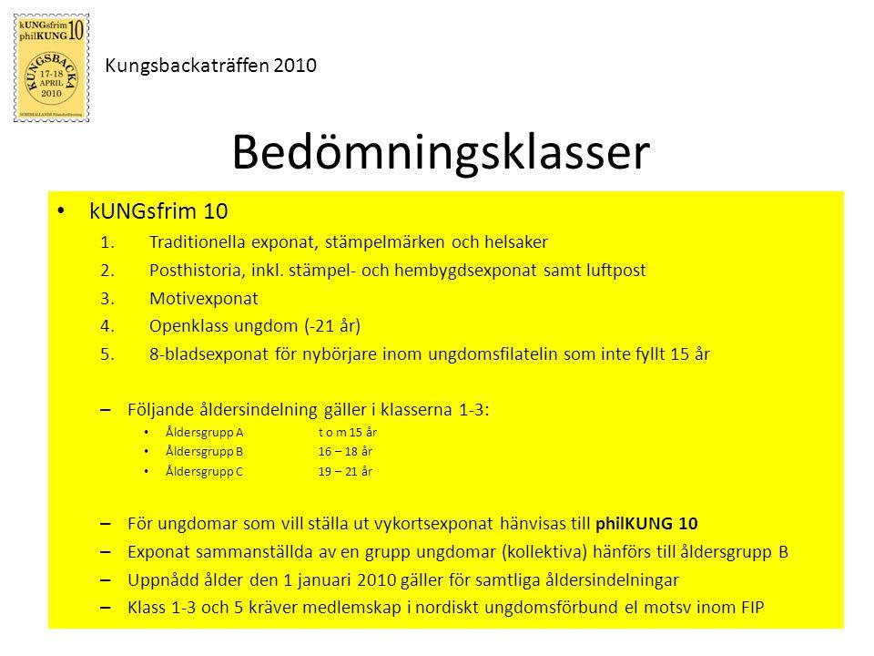 Kungsbackaträffen 2010 Bedömningsklasser kUNGsfrim 10 1.Traditionella exponat, stämpelmärken och helsaker 2.Posthistoria, inkl. stämpel- och hembygdse