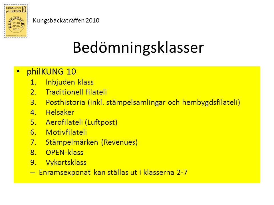 Kungsbackaträffen 2010 Bedömningsklasser philKUNG 10 1.Inbjuden klass 2.Traditionell filateli 3.Posthistoria (inkl. stämpelsamlingar och hembygdsfilat