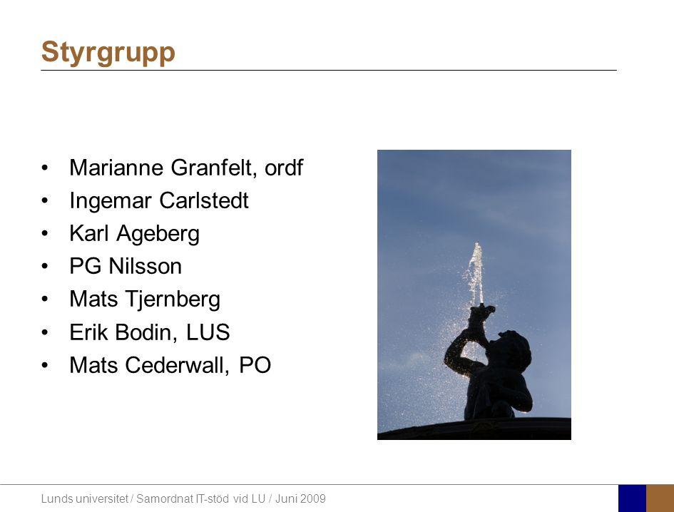 Lunds universitet / Samordnat IT-stöd vid LU / Juni 2009 Marianne Granfelt, ordf Ingemar Carlstedt Karl Ageberg PG Nilsson Mats Tjernberg Erik Bodin, LUS Mats Cederwall, PO Styrgrupp