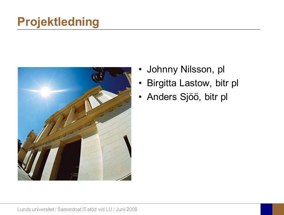Lunds universitet / Samordnat IT-stöd vid LU / Juni 2009 Johnny Nilsson, pl Birgitta Lastow, bitr pl Anders Sjöö, bitr pl Projektledning