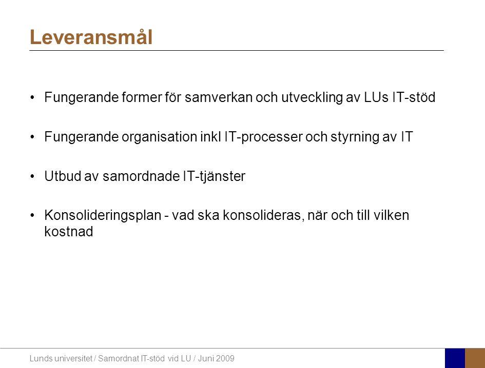 Lunds universitet / Samordnat IT-stöd vid LU / Juni 2009 Fungerande former för samverkan och utveckling av LUs IT-stöd Fungerande organisation inkl IT-processer och styrning av IT Utbud av samordnade IT-tjänster Konsolideringsplan - vad ska konsolideras, när och till vilken kostnad Leveransmål