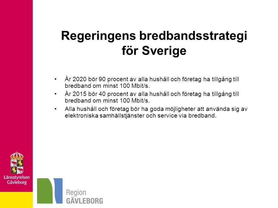 Regeringens bredbandsstrategi för Sverige År 2020 bör 90 procent av alla hushåll och företag ha tillgång till bredband om minst 100 Mbit/s. År 2015 bö