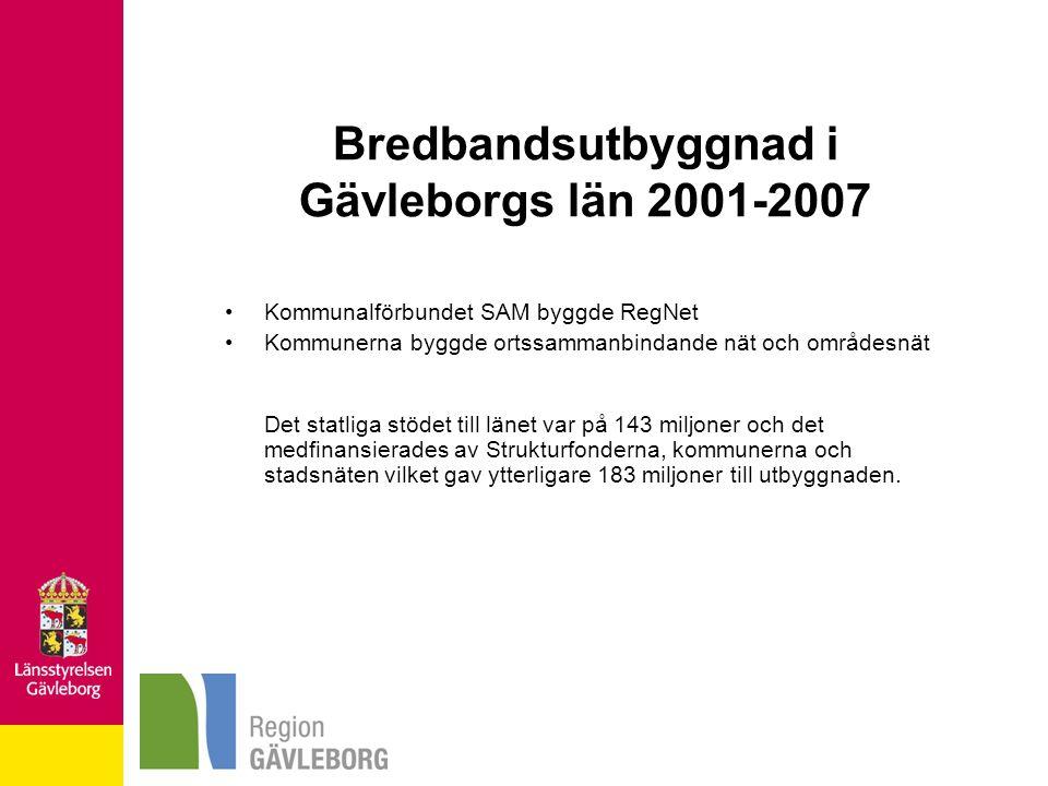 Bredbandsutbyggnad i Gävleborgs län 2001-2007 Kommunalförbundet SAM byggde RegNet Kommunerna byggde ortssammanbindande nät och områdesnät Det statliga stödet till länet var på 143 miljoner och det medfinansierades av Strukturfonderna, kommunerna och stadsnäten vilket gav ytterligare 183 miljoner till utbyggnaden.