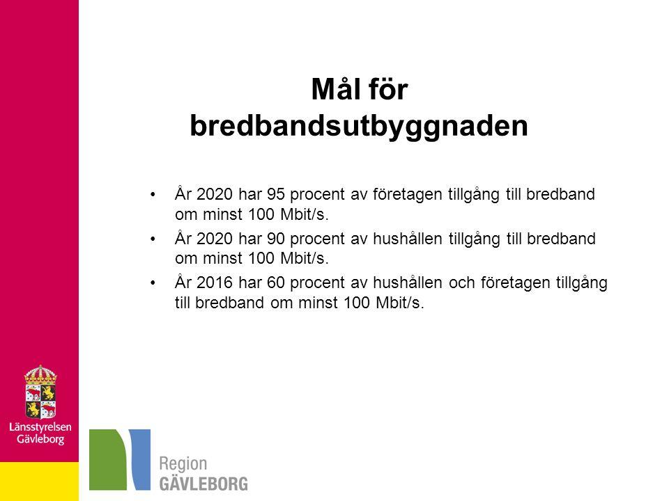 Mål för bredbandsutbyggnaden År 2020 har 95 procent av företagen tillgång till bredband om minst 100 Mbit/s. År 2020 har 90 procent av hushållen tillg