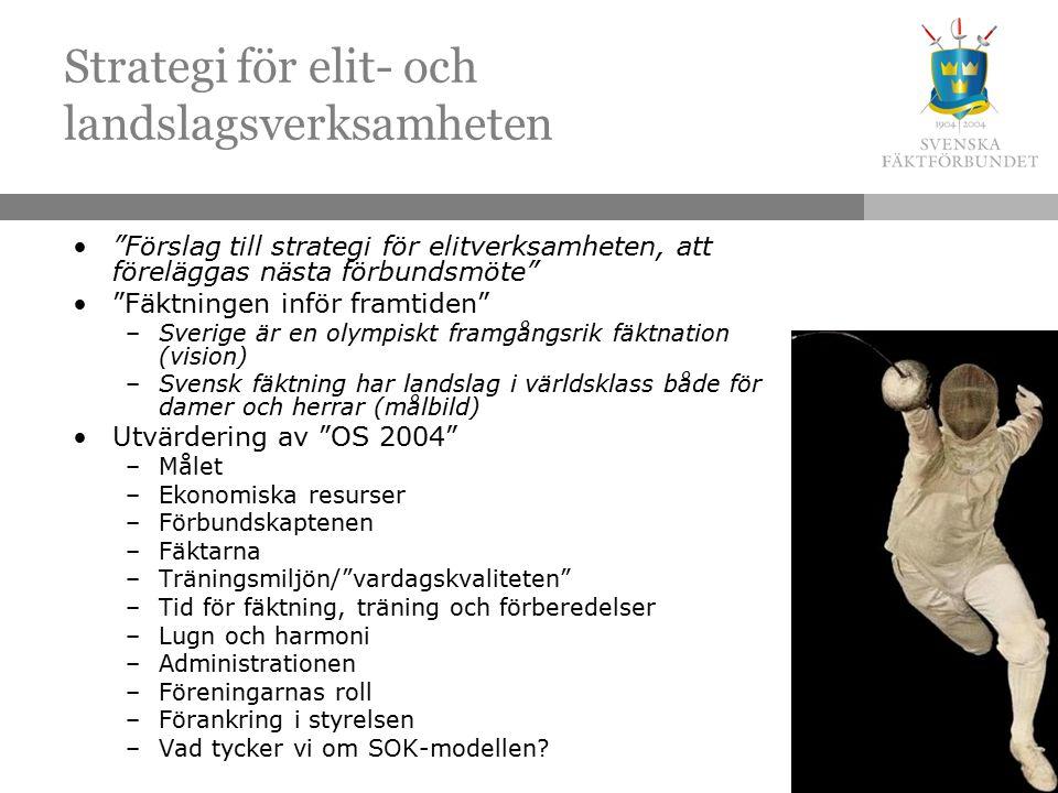 Strategi för elit- och landslagsverksamheten Förslag till strategi för elitverksamheten, att föreläggas nästa förbundsmöte Fäktningen inför framtiden –Sverige är en olympiskt framgångsrik fäktnation (vision) –Svensk fäktning har landslag i världsklass både för damer och herrar (målbild) Utvärdering av OS 2004 –Målet –Ekonomiska resurser –Förbundskaptenen –Fäktarna –Träningsmiljön/ vardagskvaliteten –Tid för fäktning, träning och förberedelser –Lugn och harmoni –Administrationen –Föreningarnas roll –Förankring i styrelsen –Vad tycker vi om SOK-modellen
