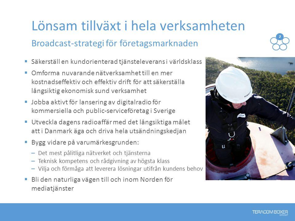  Säkerställ en kundorienterad tjänsteleverans i världsklass  Omforma nuvarande nätverksamhet till en mer kostnadseffektiv och effektiv drift för att säkerställa långsiktig ekonomisk sund verksamhet  Jobba aktivt för lansering av digitalradio för kommersiella och public-serviceföretag i Sverige  Utveckla dagens radioaffär med det långsiktiga målet att i Danmark äga och driva hela utsändningskedjan  Bygg vidare på varumärkesgrunden: – Det mest pålitliga nätverket och tjänsterna – Teknisk kompetens och rådgivning av högsta klass – Vilja och förmåga att leverera lösningar utifrån kundens behov  Bli den naturliga vägen till och inom Norden för mediatjänster Lönsam tillväxt i hela verksamheten Broadcast-strategi för företagsmarknaden 2 13 54