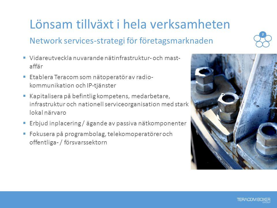 Vidareutveckla nuvarande nätinfrastruktur- och mast- affär  Etablera Teracom som nätoperatör av radio- kommunikation och IP-tjänster  Kapitalisera på befintlig kompetens, medarbetare, infrastruktur och nationell serviceorganisation med stark lokal närvaro  Erbjud inplacering / ägande av passiva nätkomponenter  Fokusera på programbolag, telekomoperatörer och offentliga- / försvarssektorn Lönsam tillväxt i hela verksamheten Network services-strategi för företagsmarknaden 2 13 54