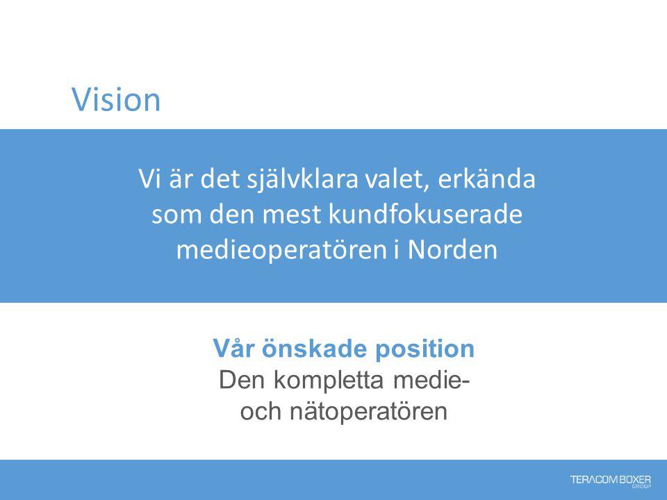 Vision Vår önskade position Den kompletta medie- och nätoperatören Vi är det självklara valet, erkända som den mest kundfokuserade medieoperatören i Norden