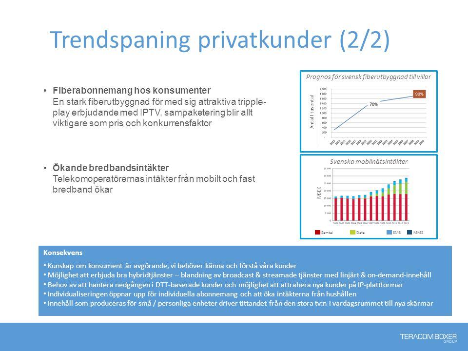 Trendspaning privatkunder (2/2) Fiberabonnemang hos konsumenter En stark fiberutbyggnad för med sig attraktiva tripple- play erbjudande med IPTV, samp
