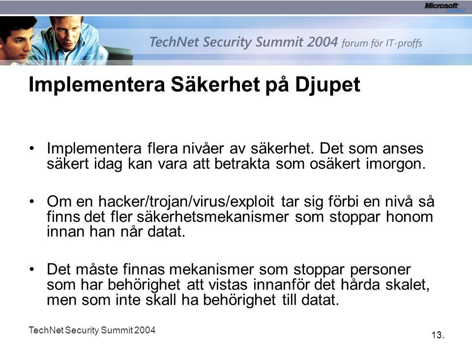 13. TechNet Security Summit 2004 Implementera Säkerhet på Djupet Implementera flera nivåer av säkerhet. Det som anses säkert idag kan vara att betrakt