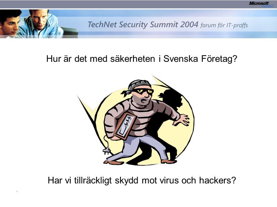 2.2. TechNet Security Summit 2004 Hur är det med säkerheten i Svenska Företag? Har vi tillräckligt skydd mot virus och hackers?