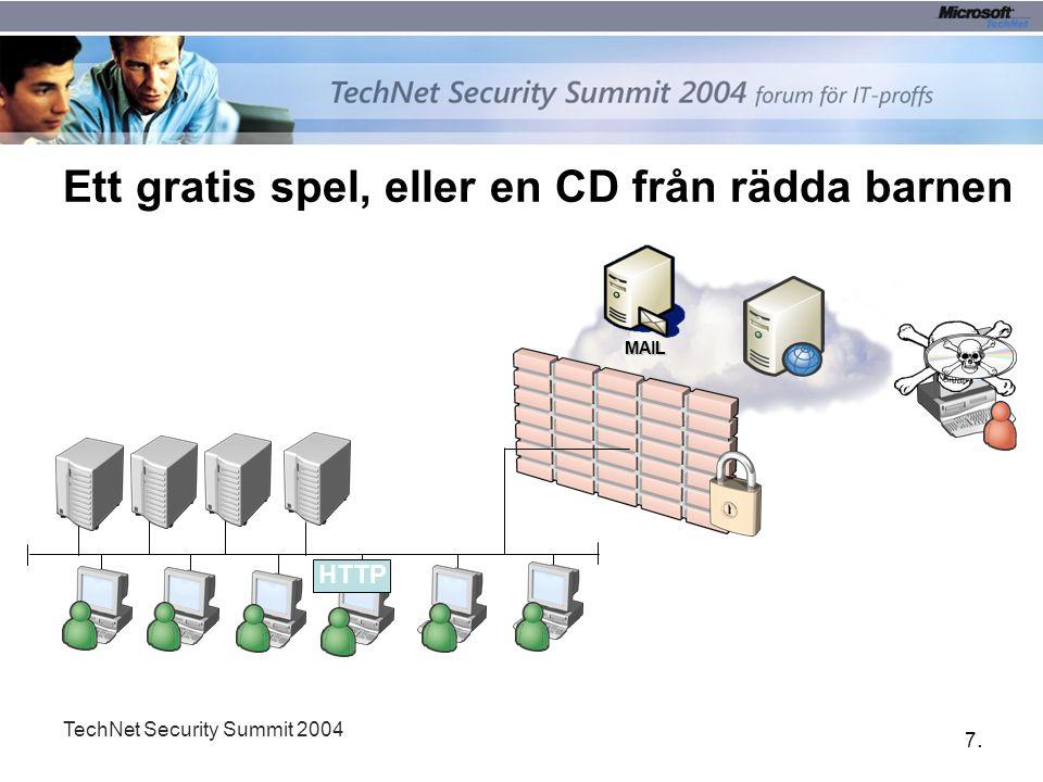 7.7. TechNet Security Summit 2004 Ett gratis spel, eller en CD från rädda barnen MAIL HTTP