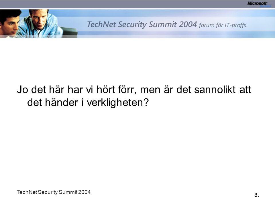 8.8. TechNet Security Summit 2004 Jo det här har vi hört förr, men är det sannolikt att det händer i verkligheten?