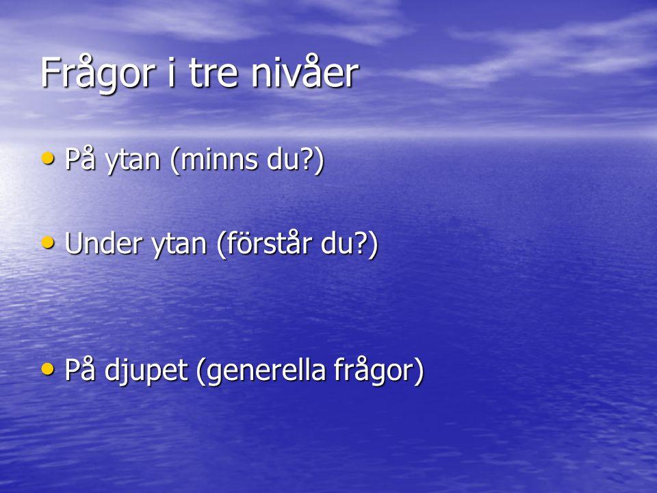 Frågor i tre nivåer På ytan (minns du?) På ytan (minns du?) Under ytan (förstår du?) Under ytan (förstår du?) På djupet (generella frågor) På djupet (