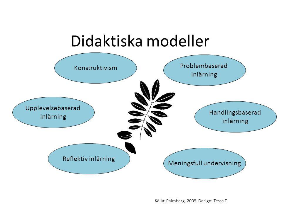 Didaktiska modeller Konstruktivism Handlingsbaserad inlärning Upplevelsebaserad inlärning Reflektiv inlärning Meningsfull undervisning Problembaserad inlärning Källa: Palmberg, 2003.