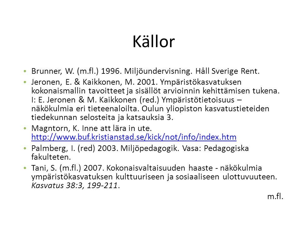 Källor Brunner, W. (m.fl.) 1996. Miljöundervisning.