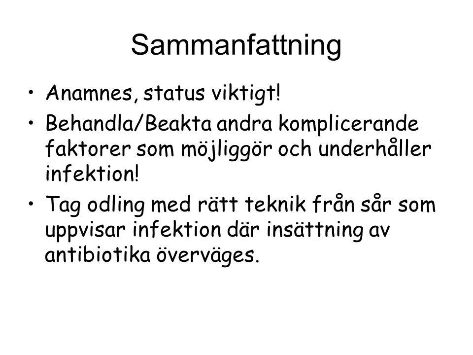 Sammanfattning Anamnes, status viktigt! Behandla/Beakta andra komplicerande faktorer som möjliggör och underhåller infektion! Tag odling med rätt tekn