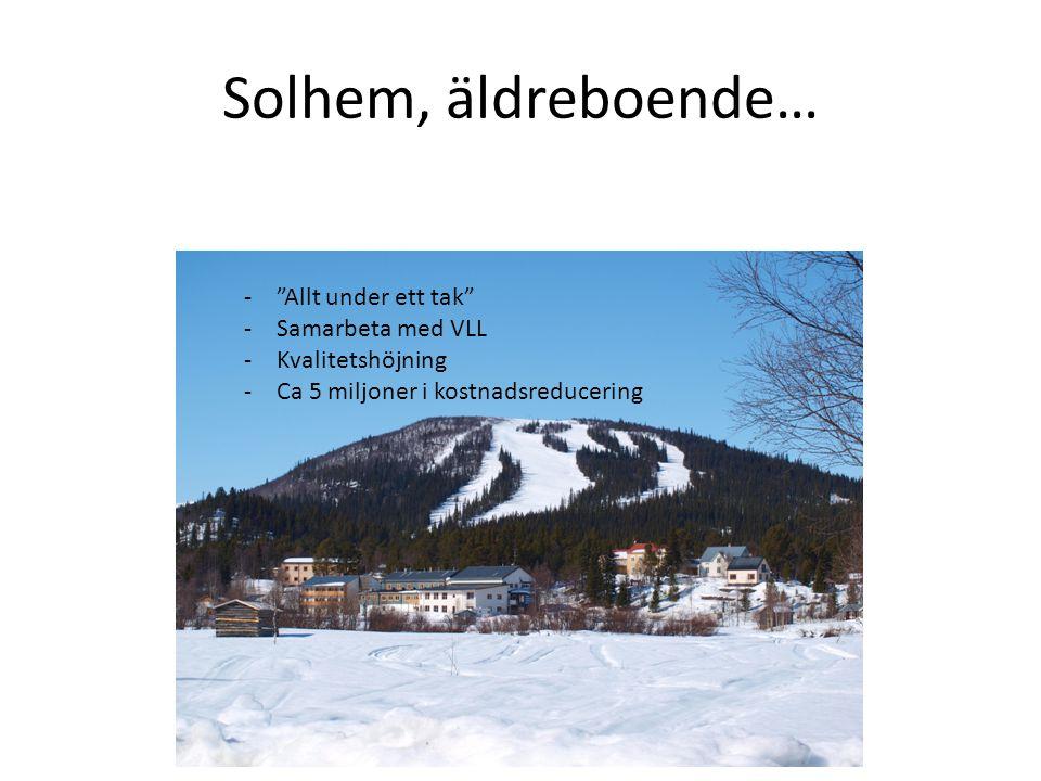 Solhem, äldreboende… - Allt under ett tak -Samarbeta med VLL -Kvalitetshöjning -Ca 5 miljoner i kostnadsreducering