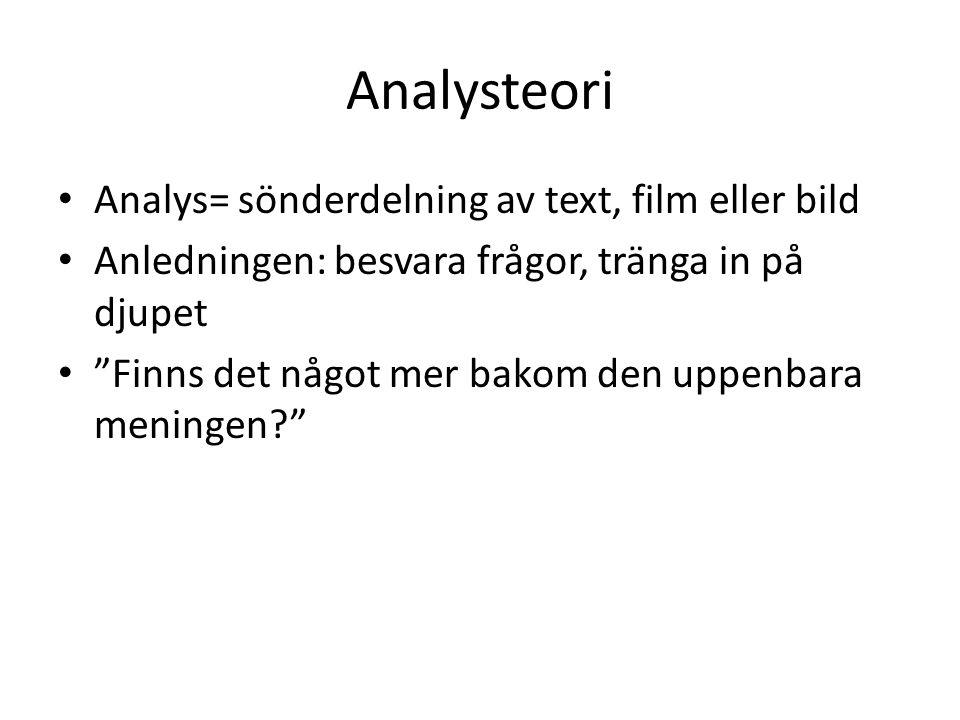 Analysteori Analys= sönderdelning av text, film eller bild Anledningen: besvara frågor, tränga in på djupet Finns det något mer bakom den uppenbara meningen?