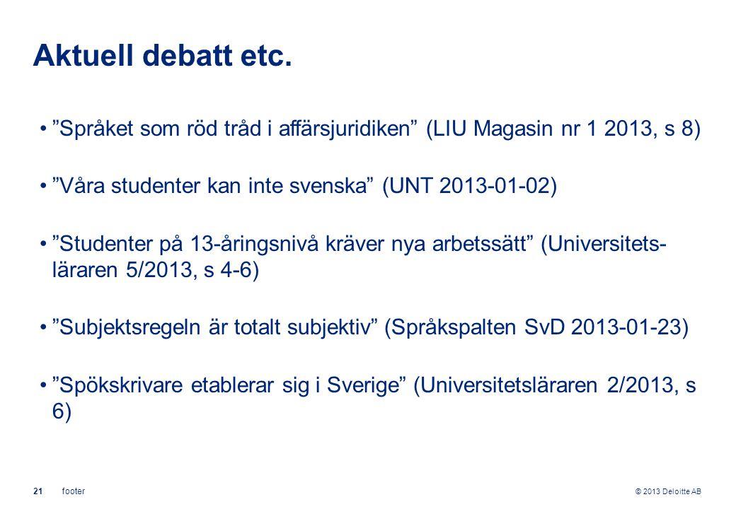 © 2013 Deloitte AB 21footer Aktuell debatt etc.