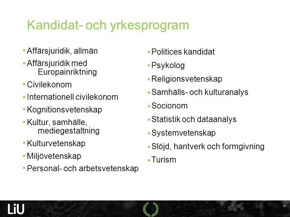 Kandidat- och yrkesprogram Affärsjuridik, allmän Affärsjuridik med Europainriktning Civilekonom Internationell civilekonom Kognitionsvetenskap Kultur,