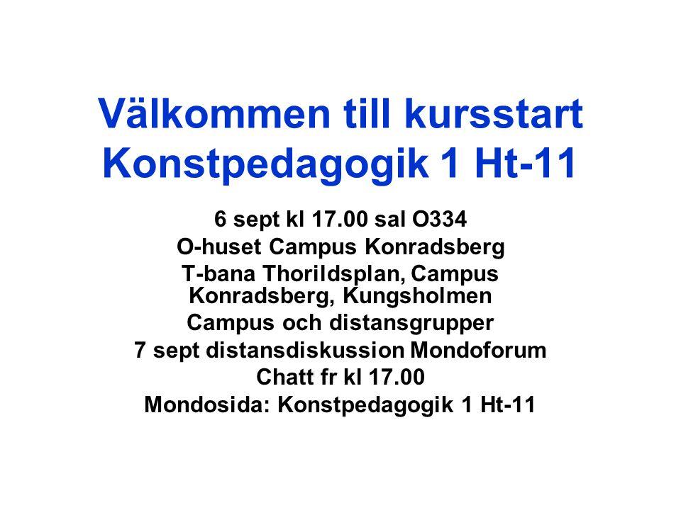 Välkommen till kursstart Konstpedagogik 1 Ht-11 6 sept kl 17.00 sal O334 O-huset Campus Konradsberg T-bana Thorildsplan, Campus Konradsberg, Kungsholm