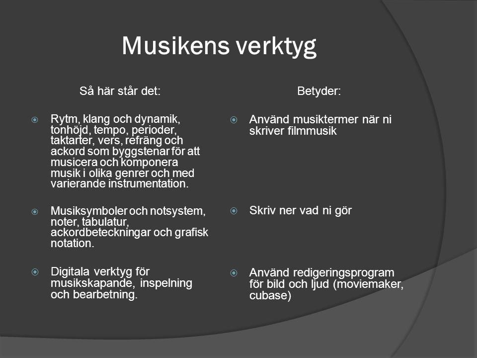 Musikens verktyg Så här står det:  Rytm, klang och dynamik, tonhöjd, tempo, perioder, taktarter, vers, refräng och ackord som byggstenar för att musi
