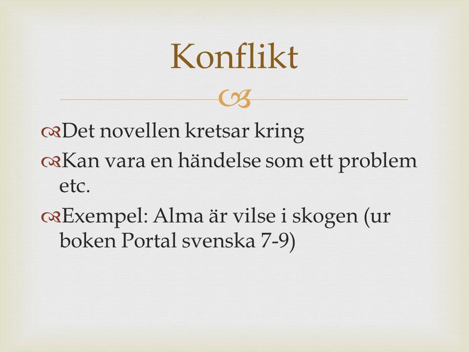   Det novellen kretsar kring  Kan vara en händelse som ett problem etc.  Exempel: Alma är vilse i skogen (ur boken Portal svenska 7-9) Konflikt