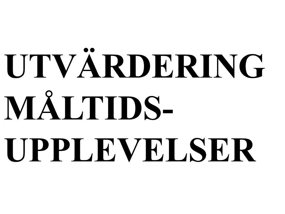 UTVÄRDERING MÅLTIDS- UPPLEVELSER