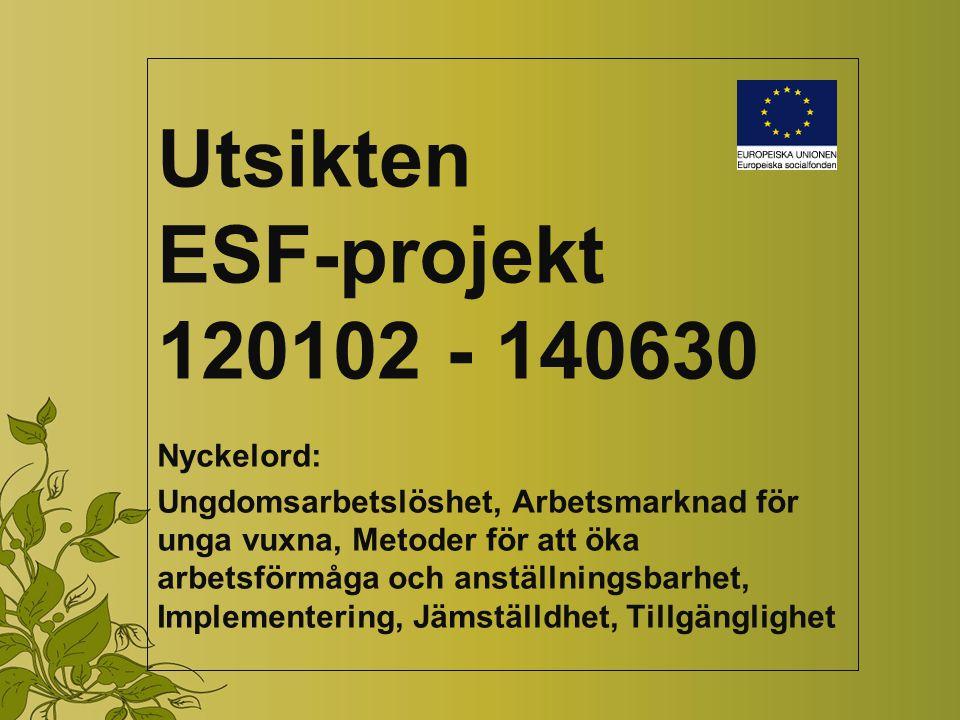 Utsikten ESF-projekt 120102 - 140630 Nyckelord: Ungdomsarbetslöshet, Arbetsmarknad för unga vuxna, Metoder för att öka arbetsförmåga och anställningsbarhet, Implementering, Jämställdhet, Tillgänglighet