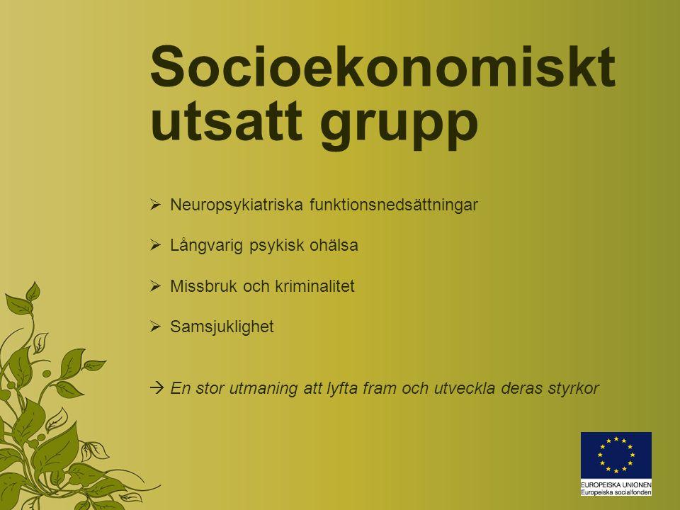 Socioekonomiskt utsatt grupp  Neuropsykiatriska funktionsnedsättningar  Långvarig psykisk ohälsa  Missbruk och kriminalitet  Samsjuklighet  En stor utmaning att lyfta fram och utveckla deras styrkor