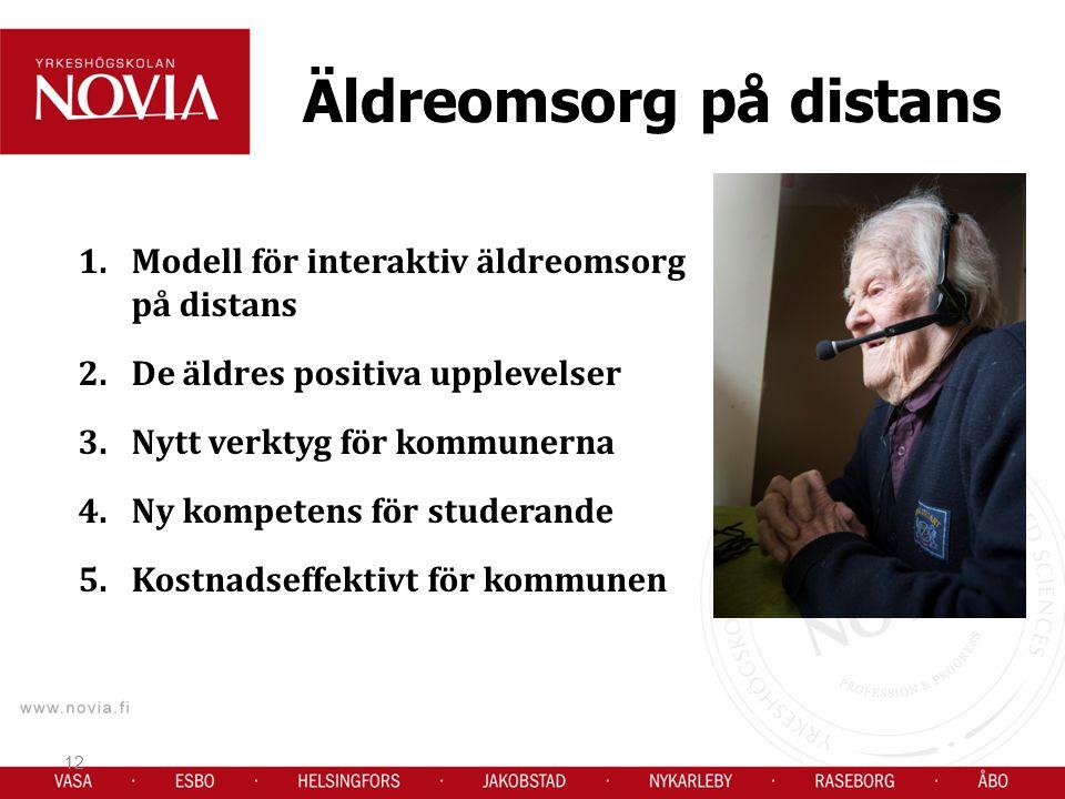 Äldreomsorg på distans 1.Modell för interaktiv äldreomsorg på distans 2.De äldres positiva upplevelser 3.Nytt verktyg för kommunerna 4.Ny kompetens för studerande 5.Kostnadseffektivt för kommunen 12